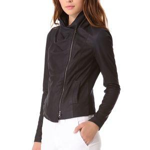 Vince Paper Leather Scuba Moto Jacket